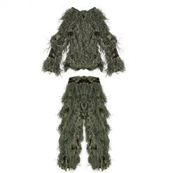 Pellor Children 3D Camouflage Clothing Ghillie Suit for Outdoor Jungle Woodland Hunting Bird Watching CS (Camouflage, for Height: 3-4.9ft)