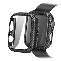 Carbon Fiber Texture Apple Watch Case Series 4/3/2/1 - Hard PC Frame Case High-Gloss/Twill Weave Finish Protective Bumper Cover Compatible 38/40/44/42 mm
