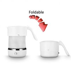 Travel Foldable Electric Kettle dry heating preservation private water kettle 500ML capacity mini, health and hygiene 110V-240V White