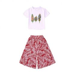 2Pcs Girls Summer Clothes Set, O-Neck Short Sleeve Solid T-Shirt Tops + Short Pant Summer Outfits Dark Red