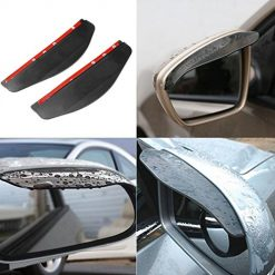 Idomeo 2PCS Car Rearview Mirror Rain Water Eyebrow Cover Side Shield Clear Black Mirrors