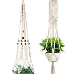 Toniya Macrame Plant Hanger Hanging Planter Wall Modern Indoor Outdoor Decor Cotton Rope 41 Inch 36 Inches Set of 2