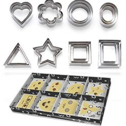 ShengHai 2 Biscuit Hearts Stars, 3 Flowers 15 Geometric Shape, Stainless Steel Pastry Cutters, Set-24 Pieces Medium Size, Silver