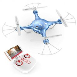 Syma X5UW FPV RC Drone with 720P HD Wi-Fi Camera Live Video Training Quadcopter for Beginners Bonus Battery Blue
