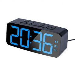PINGKO Digital Alarm Clock with FM Radio-Large Smart LED Display, Snooze Function,Adjustable Brightness -Small and Light for Travel,Desk or Bedroom