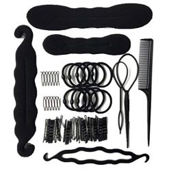 Idomeo Hair Styling Clip Maker Tool Kit Hairpins Bun Sponge Donut DIY Hair Accessories Styling Tools & Appliances