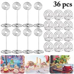 Place Holders, Outgeek 36PCS Table Number Holders Place Card Holders Desk Card Stand Clips Wire Table Picture Photo Holder Tabletop Postcard Menu Memo Name Card Recipe Centerpieces Number Photo Stands