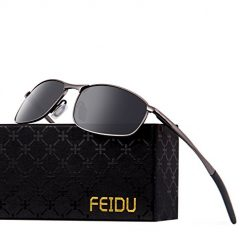 FEIDU Polarized Sport Mens Sunglasses HD Lens Metal Frame Driving Shades FD 9005 (A-black/gun-9005, 2.24)