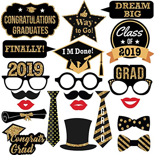 picture regarding Printable Graduation Photo Booth Props called Commencement Image Booth Props-2019 Legitimate Gold Glitter for Commencement Bash Favors Materials Decorations (21pcs)