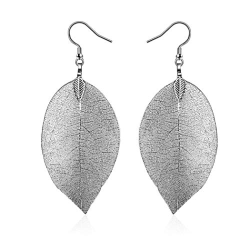 Lioder Women Natural Leaves Earrings Elegant Pierced Hook Dangle Earrings Jewelry Gift Drop & Dangle