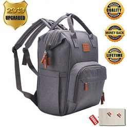 Backpack Diaper Bag Backpack Baby Diaper Bag Large Capacity Multifunction Nappy Backpack Bag for Mom Dad Waterproof Insulated Pocket Maternity Bag Stroller Straps Stylish Travel Diaper Backpack(Gray)