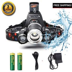 Guoqi Super Bright LED Headlamp Waterproof Rechargeable with Motion Sensor for Camping Hiking Fishing Running in The Night