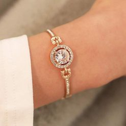Idomeo Women Fashion Retro Rhinestone Flower Hollow Out Bracelet Bangle
