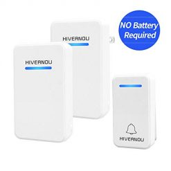 Hivernou Wireless Doorbell with 1 Push Button and 2 Plug-In Receivers Operating at over 600 feet Range with 48 Chimes and 6 Volume Levels & LED Flash,No Batteries Required