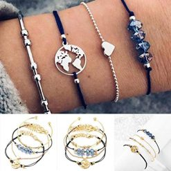 Ladiy 4 PCS Women Fashion Bracelets Bohemia Style Heart Map Shape Beaded Bracelet Bracelets