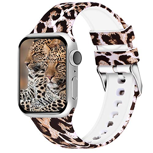 Aomoband Floral Bands Compatible with Apple Watch 38mm 42mm 40mm 44mm, Soft Silicone Pattern Printed Replacements Straps for iWatch Series 4/3/2/1 (Floral-1, 38mm/40mm)