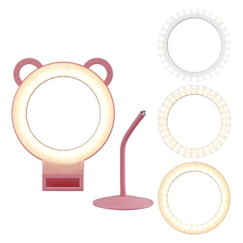"""Lusweimi Panda LED Ring Light 6"""" with 2 Stands for YouTube Video and Makeup, Nice Lovely Gift for Children Mini LED Camera Light Desktop Lamp with 3 Light Modes & 11 Brightness Level (6"""")"""