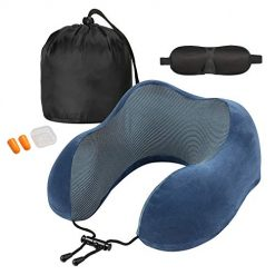Sararoom Neck Pillow for Airplane Travel, Travel Pillows, 100% Pure Memory Foam Neck Airplane Support Pillow with Comfortable Washable Cover, Portable Bag, Sleep Mask and Earplugs (Blue)