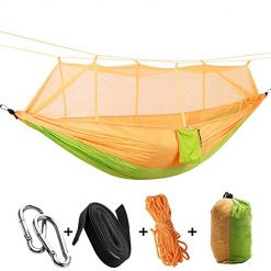 H&M Portable Camping Hammock Portable Parachute Nylon Hammock Suitable for Camping Survival Travel,Orange,260140CM With Coupon Discount
