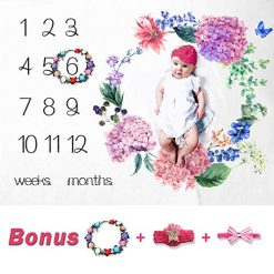 Baby Milestone Blanket Large & Soft | Girl or Boy Photography Background Prop Blanket | NO Ironing Needed | Newborn to 12 Months | Watch me Grow Blanket | Baby Shower Gift