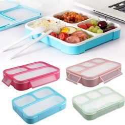 Erholi Durable Portable Multifunctional Partition Lunch Box Food Storage Box Bowls