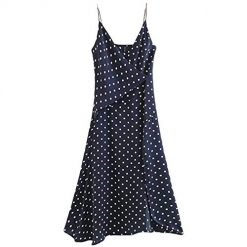 Fenido Women Casual V-Neck Sleeveless Spaghetti Strap Dot Point Loose Dress Dresses Navy Blue