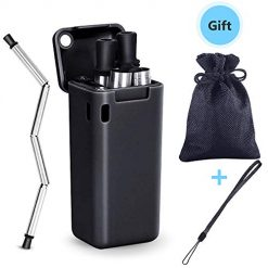 Dadoudou Collapsible Reusable Drinking Straw Stainless Steel Food-Grade Washable Foldable Drinking Straws Portable Set with Keychain, Case Holder,Cleaning Brush and Zipped Bag(Black)