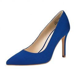 JENN ARDOR Stiletto High Heel Shoes for Women: Pointed, Closed Toe Classic Slip On Dress Pump-Blue 9 B(M) US