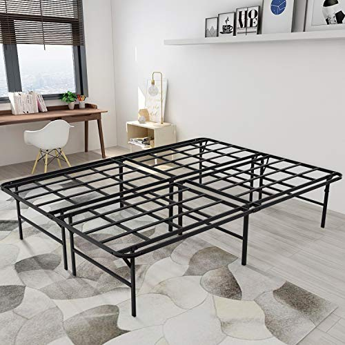 Zizin 16 Inch Platform Bed Frame Taller Metal Noise-Free Replace Box Spring Heavy - Duty Black Twin-XL/Queen/King (Queen)