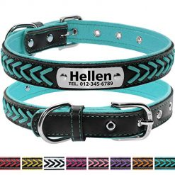 Vcalabashor Custom Leather Dog Collar/Braided Genuine Leather Name Plated Dog Collars for Small Medium Large/Personalized Engraved On Collar Pet ID Tags/Teal & Black/XS S M L
