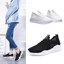erholi Fashion Women Casual Shoes Lace-Up Breathable Mesh Sport Running Shoes Sneakers