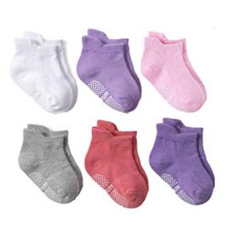 Angel.W Toddler Socks, Non-Skid Ankle Socks with Grip Kids Baby Boys Girls Anti Slip Low Cut Cotton Socks, 6 Pairs (Baby Girls, 0~1 Years)
