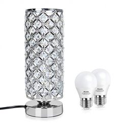 Touch Control Crystal Table Desk Lamp, Acaxin Dimmable Bedside Lamp with 2pcs LED Bulbs, Nightstand Lamp for Bedroom/Nightstand/End Table/Living Room
