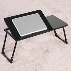 Multi-Functional Laptop Desk, Foldable Wooden Lightweight Laptop Table with Tilting Top, Adjustable Bed Table Desk, Portable Breakfast Serving Bed Tray for Working Reading Writing Eating Black