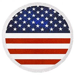 Caiuet Outdoor Beach American Flag Tassel Round Beach Towel Puzzle Play Mats 2