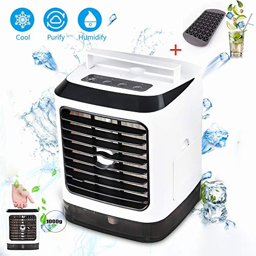 Air Cooler, USB Evaporative Personal Coolers with Waterbox, Portable LED Table Fan, 3 Fan Speed, Ultra-Quiet Table Fan for Home Office Bedroom Kids Camping (01)