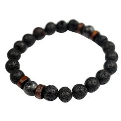 Iekofo Sholdnut Natural Lava Rock Beads Stone Bracelet,Yoga Healing Therapy Bracelets,Stretch Elastic Gemstone Bracelets for Men Wome Strand
