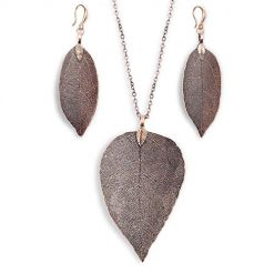 Caiuet Women Fashion Leaf Pendant Pendant Necklace Drop Earrings Set Gifts Jewelry Sets