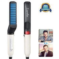 Electric Comb for Men, LARMHOI Hair and Beard Straightening Styler Brush with Side Hair Detangling, Curly Hair Straightening, Hair Straightening Comb for Men Hair Styling