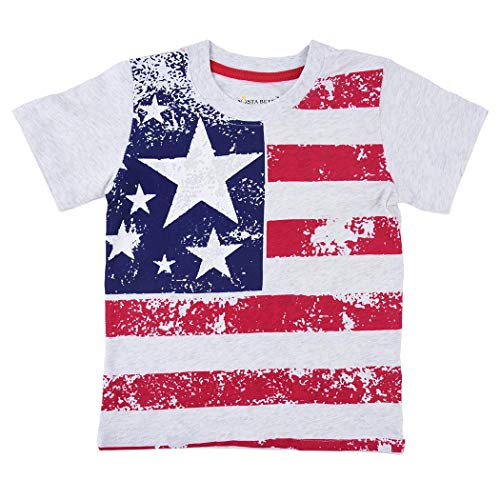 Queind Boy Kid Casual Summer T-Shirt O-Neck Short Sleeve Printed Pullover Top Tees Red Blue
