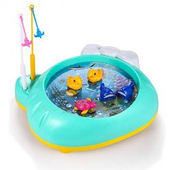Asatr Kids Water Fishing Game Set Bathing Playing Toy With Music Pond Light for Boys Girls Children