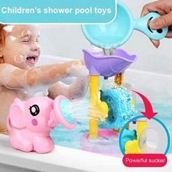 Foshin Kids Elephant Shower Waterwheel Spoon Suit Baby Child Water Shower Toy Set Bath Toys