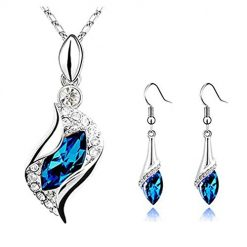 Pagacat Women Fashion Earrings Pendant Necklace Rhinestone Jewelry Set Jewelry Sets