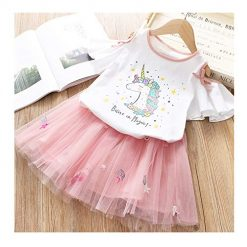 Toddler Girls Unicorn Tutu Dress Set Costume Birthday Party Top + Fancy Layered Tutu Dress + Unicorn Handband Outfits 3Pcs