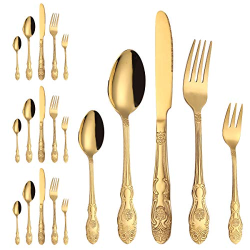 20-Piece Gold Flatware Silverware Cutlery Set-Stainless Steel Utensils Service for 4, Include Knife/Fork/Spoon,Utensils-Mirror Polished,Dishwasher Safe.