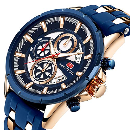 Men Business Watch, MINI FOCUS Quartz Watch (Blue, Alloy, 30M) Silicon Band Strap Casual Wristwatch for Family Gift