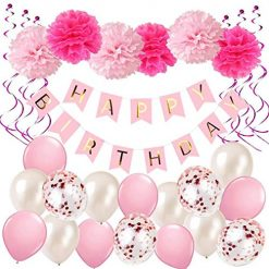 YUMMAYEE Girls Paper Pompoms Latex Balloons Spiral Decoration Garland Banner for Home Decor Birthday Decoration Supplies Party Decoration ...
