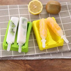 Kosiehouse Silicone Ice Pop Molds Popsicle Molds Popsicle Maker Fruitsicle Frozen Pop Tray with 2 Lids and Sticks - Set of 2 - DIY Ice Cream Maker For Kids BPA Free