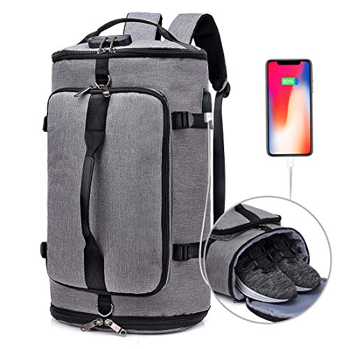 Travel Duffel Backpack with Shoe Compartment,Anti Theft waterproof Weekender Backpack College School Bookbag w/USB Charging Port,Convertible Luggage Bag for Men,Grey