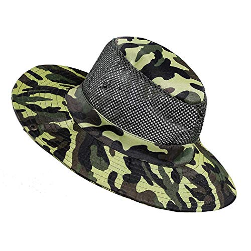 Lioder Men Fashion Summer Spring Outdoor Sun Protection Mountaineering Hat Sun Hats Dark Green